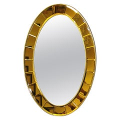 Wall Mirror by Cristal Art in Crystal Glass and Golden Aluminum, Italy, 1950s