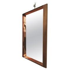 Wall Mirror by Fontana Arte Mid Century Brass Glass Mod.2172, Italy, 1960s