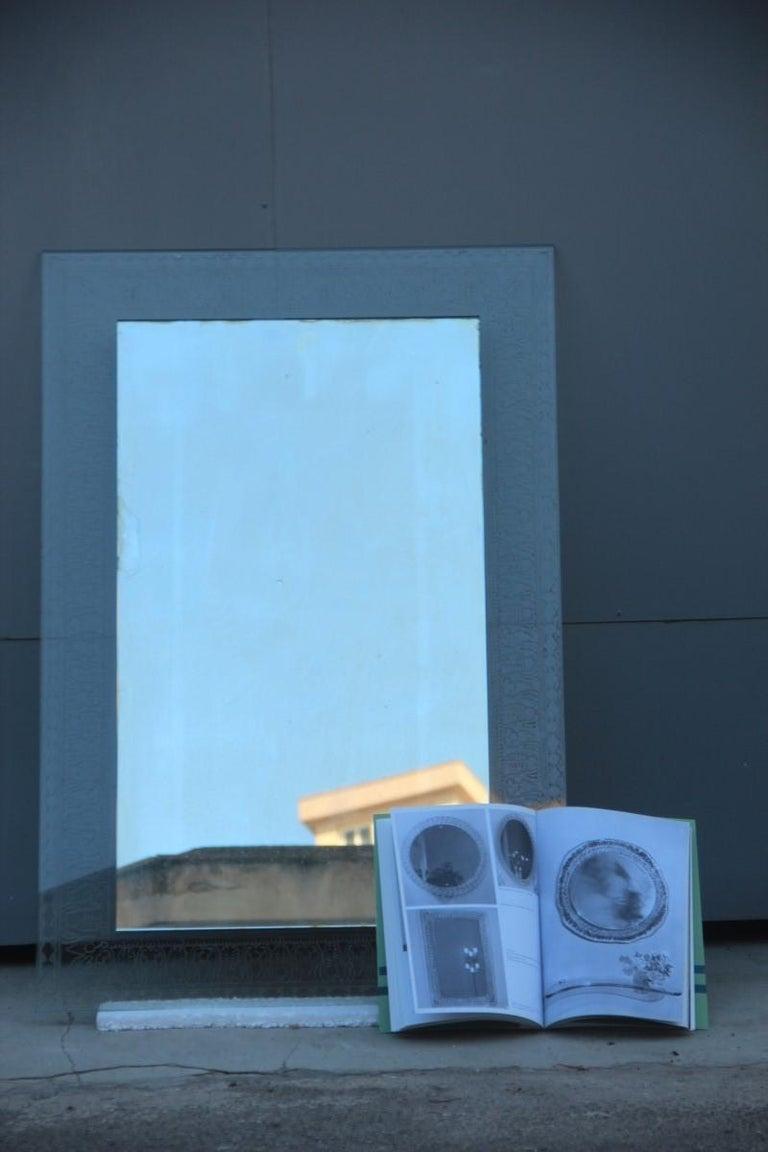 Elegant wall mirror crystal art Mid-Century Modern Italian design corroded acid. Published in the crystal art book.