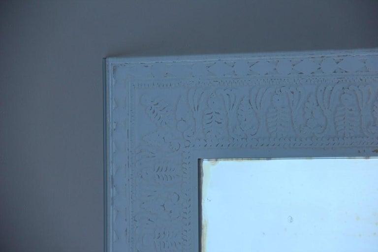 Mid-20th Century Wall Mirror Cristal Art Midcentury Modern Italian Design Corroded Acid For Sale