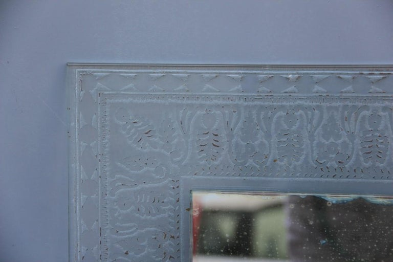 Crystal Wall Mirror Cristal Art Midcentury Modern Italian Design Corroded Acid For Sale