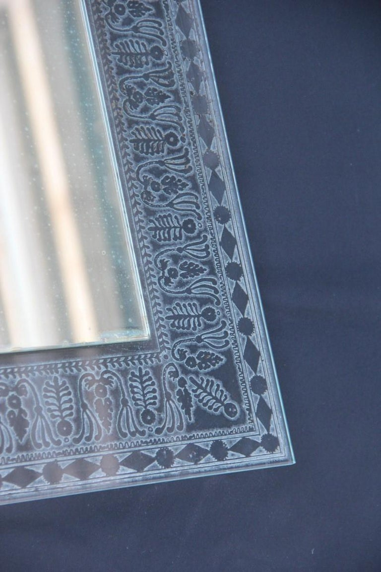 Wall Mirror Cristal Art Midcentury Modern Italian Design Corroded Acid For Sale 3