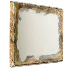 Diamond Wall Mirror Handmade Silvering Hammered Edge Sabrina Landini