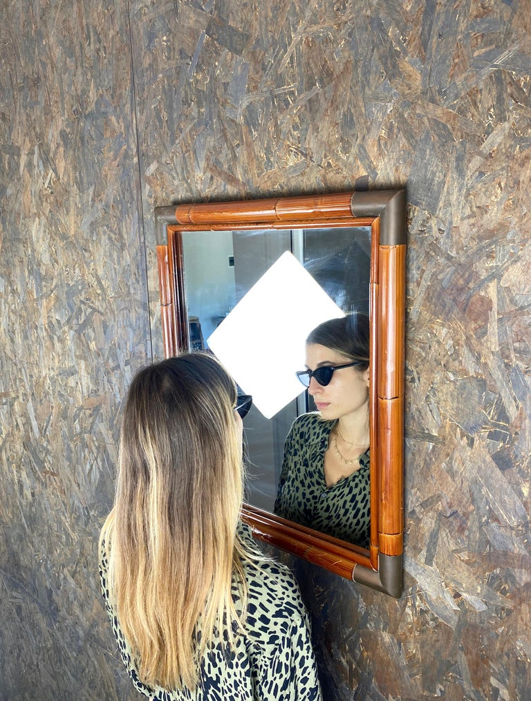 Wall Mirror in Bamboo and Brass Corners, Italy, 1970s In Good Condition In Rome, IT