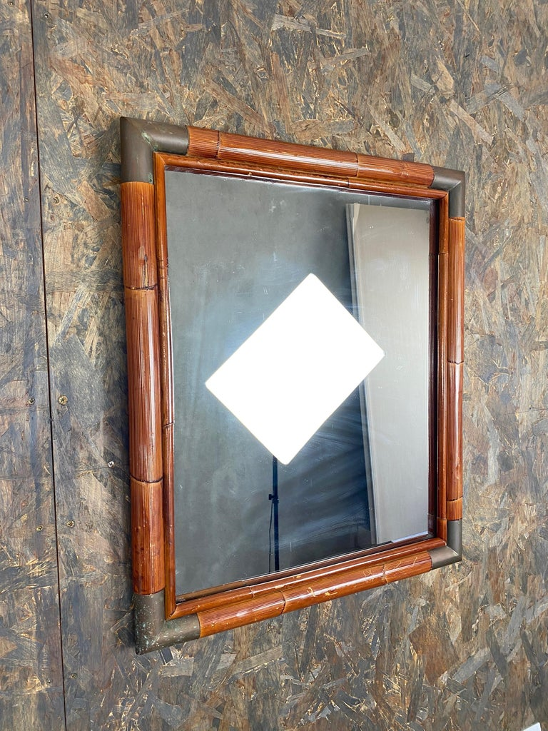 Late 20th Century Wall Mirror in Bamboo and Brass Corners, Italy, 1970s