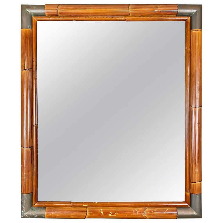 Wall Mirror in Bamboo and Brass Corners, Italy, 1970s