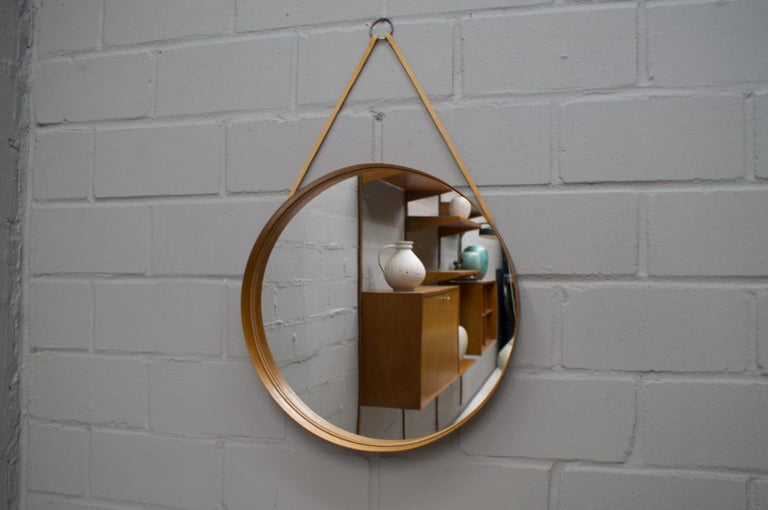 Wall Mirror in Teak Produced by Glass Mäster in Markaryd, Sweden 1960s In Good Condition For Sale In Nürnberg, Bayern