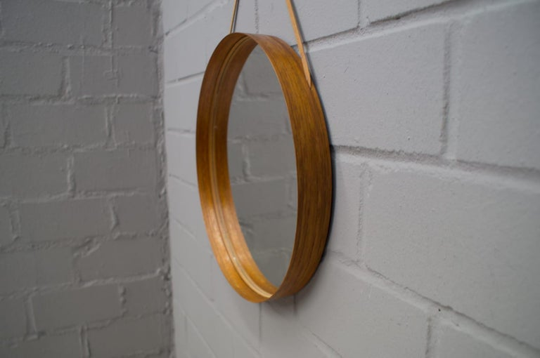 Mid-20th Century Wall Mirror in Teak Produced by Glass Mäster in Markaryd, Sweden 1960s For Sale