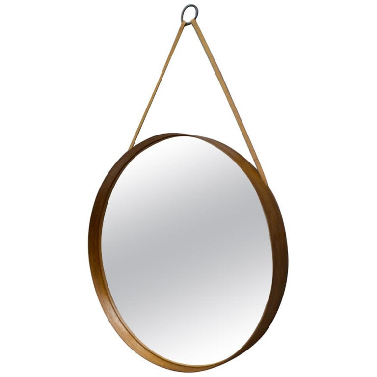 Wall Mirror in Teak Produced by Glass Mäster in Markaryd, Sweden 1960s For Sale