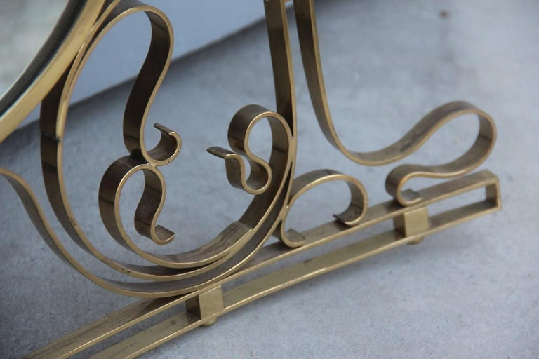 Wall Mirror Made of Shaped Solid Brass and Hand-Worked French Design, 1950 For Sale 5