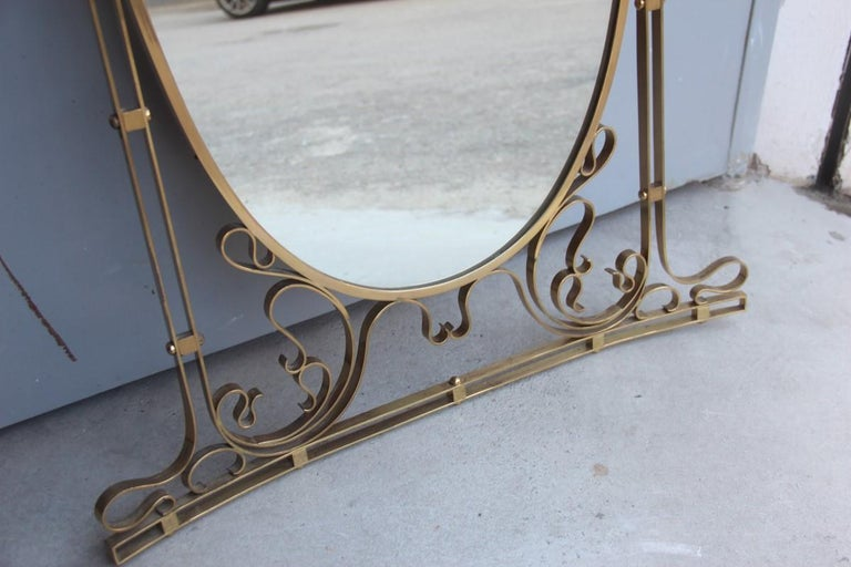 Wall Mirror Made of Shaped Solid Brass and Hand-Worked French Design, 1950 For Sale 6