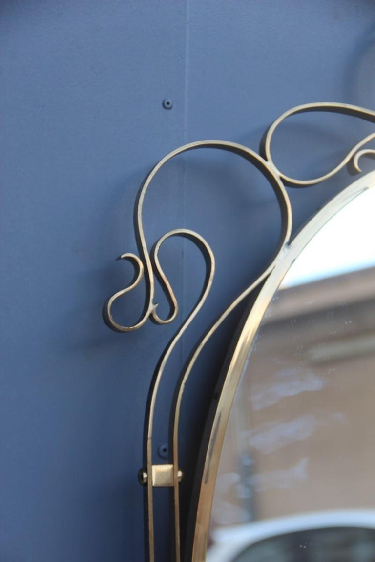Wall Mirror Made of Shaped Solid Brass and Hand-Worked French Design, 1950 For Sale 8