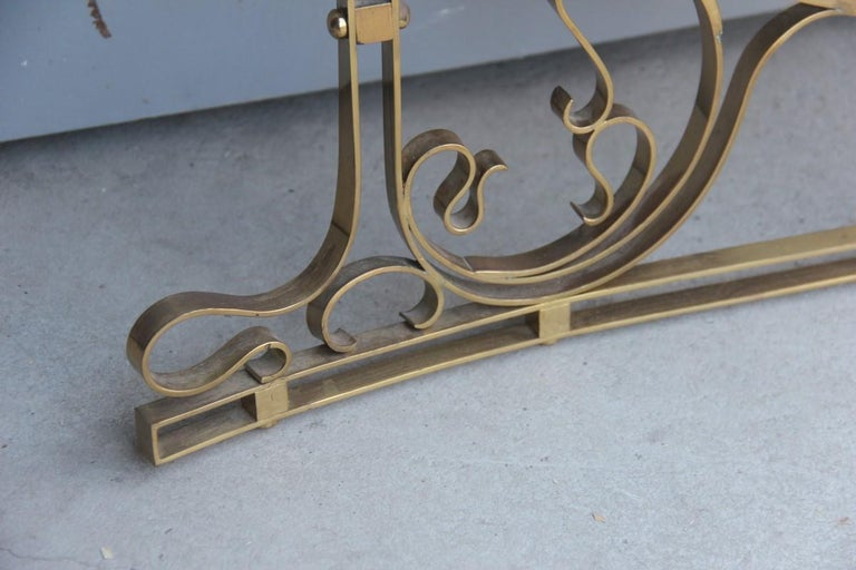Wall Mirror Made of Shaped Solid Brass and Hand-Worked French Design, 1950 For Sale 11