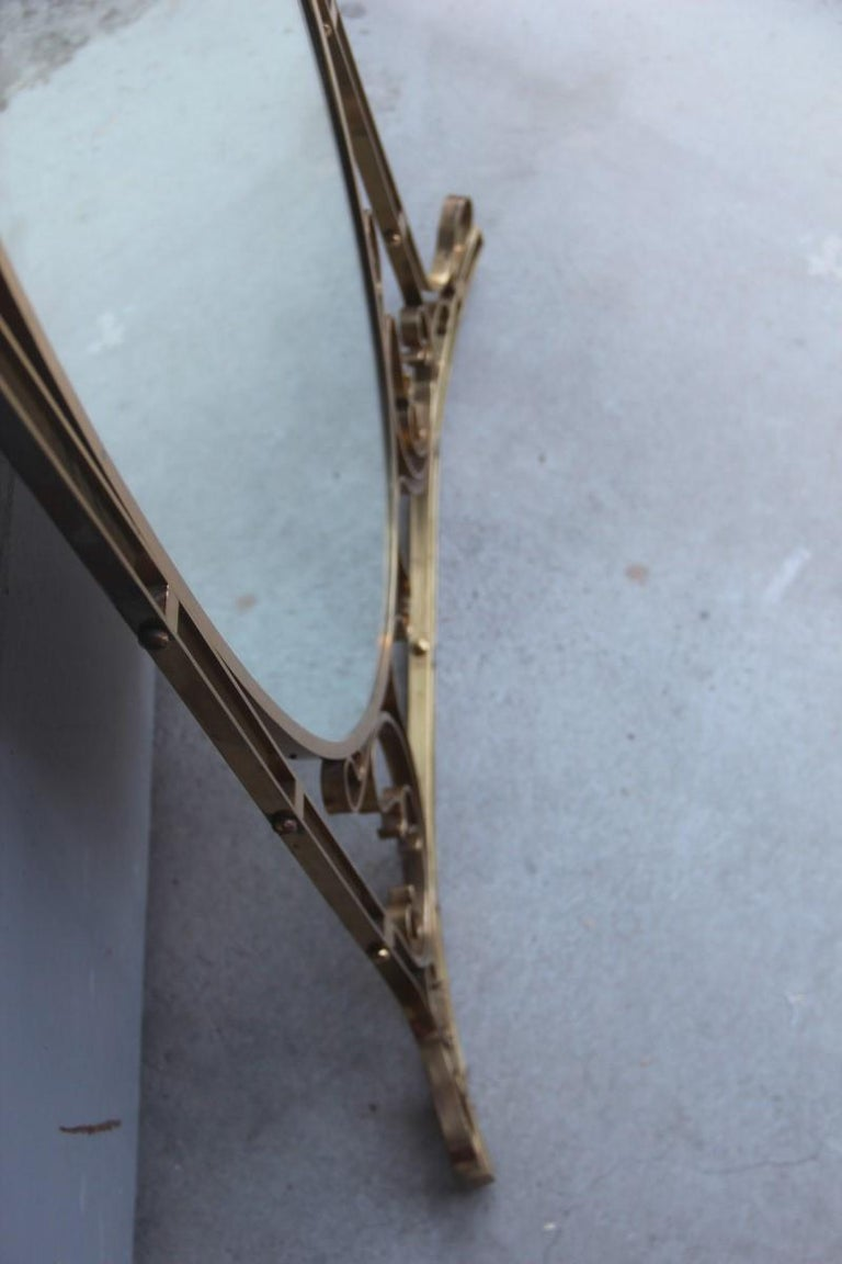 Wall Mirror Made of Shaped Solid Brass and Hand-Worked French Design, 1950 For Sale 12