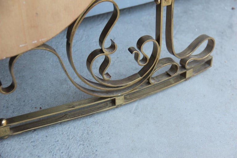 Mid-20th Century Wall Mirror Made of Shaped Solid Brass and Hand-Worked French Design, 1950 For Sale