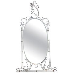 Wall Mirror Made of Shaped Solid Brass and Hand-Worked French Design, 1950