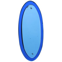 Wall Mirror Oval Blu Cobal Veca Design, Italian, 1960s