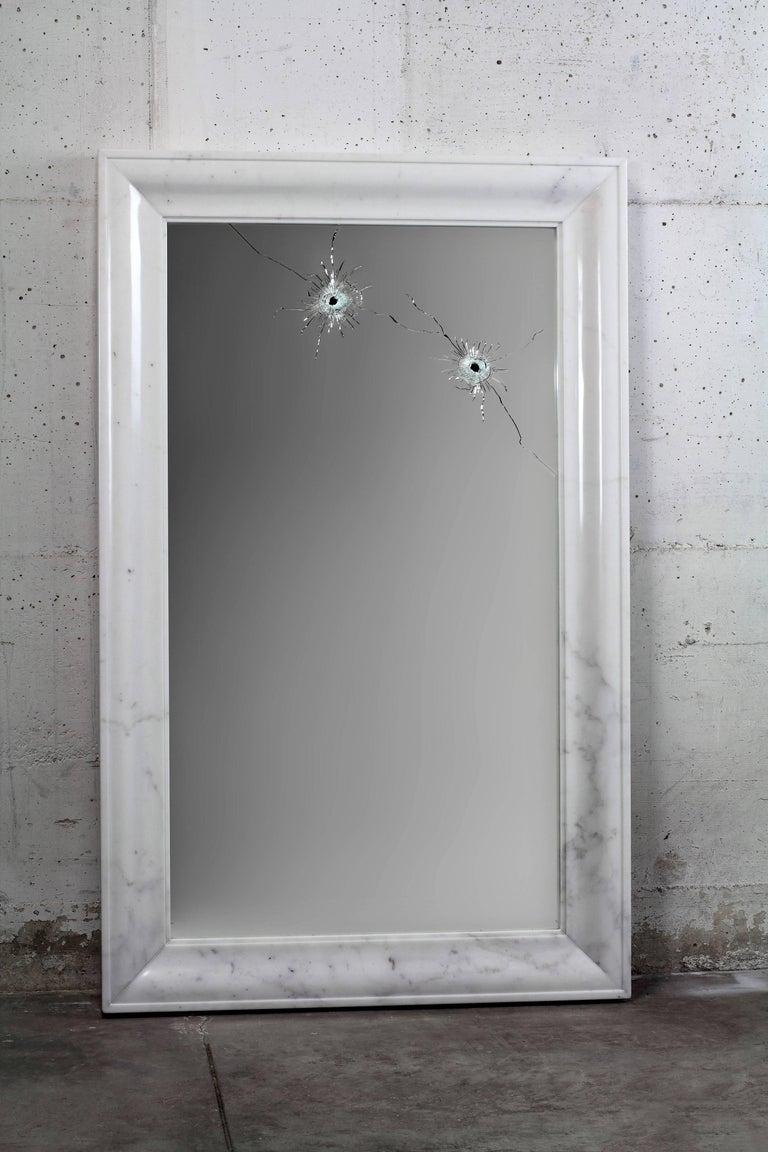 Modern Wall Mirror Rectangular White Marble Italian Contemporary Design For Sale