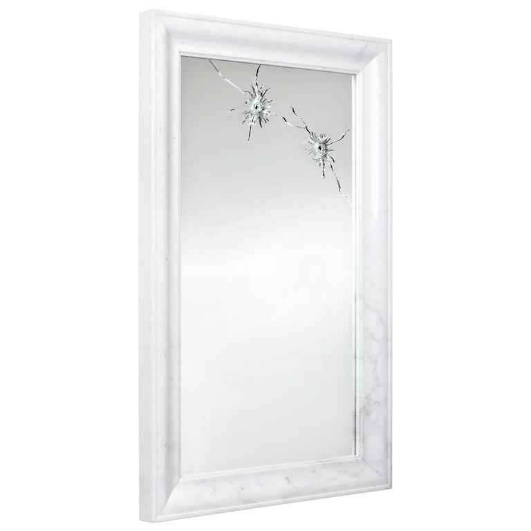 Wall Mirror Rectangular White Marble Italian Contemporary Design For Sale