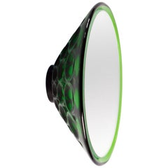 Wall Mirror 'Saturn 155a' Vintage Style 'Glass Frame' Green