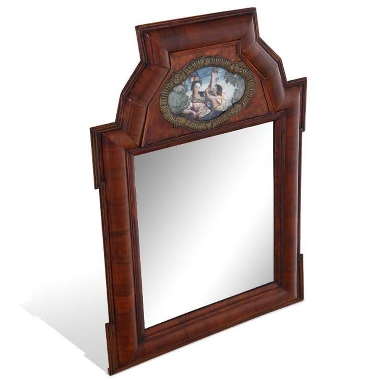 Walnut Wall Mirror, Southern Germany, Early 18th Century For Sale