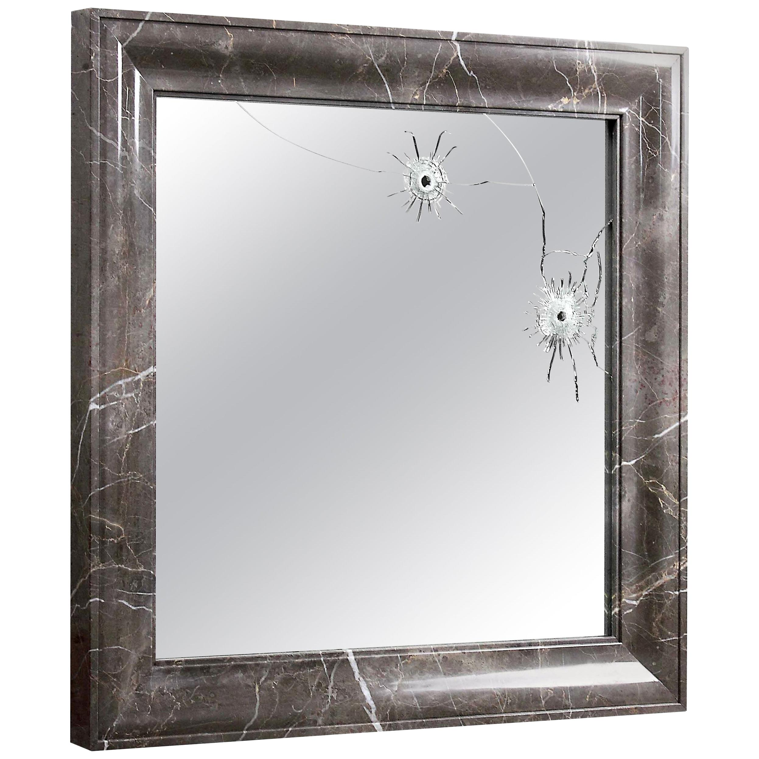 Wall Mirror Square Grey Marble Italian Limited Edition Contemporary Design