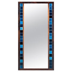 Wall Mirror with blue tiles, Danish Design, 1970s