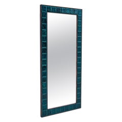 Wall Mirror with Blue Tiles, Denmark, 1960s