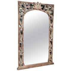 Wall Mirror with Hand Carved Wood Frame of Scrolling Floral Leaf 1960s Vintage