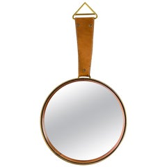 Wall Mirror with Leather, circa 1950s