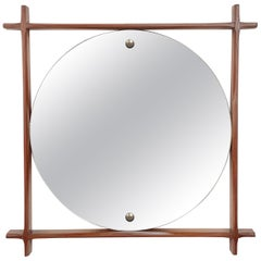 Wall Mirror with Square Teak Frame, Midcentury Italia 1960s Scandinavian Style