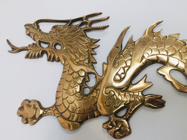 Wall Mount, Asian Cast Brass Dragon Chasing a Ball For Sale 4