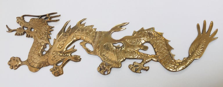 Wall Mount, Asian Cast Brass Dragon Chasing a Ball For Sale 5