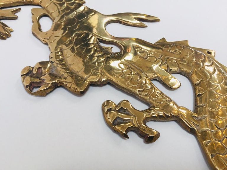 Wall Mount, Asian Cast Brass Dragon Chasing a Ball For Sale 8