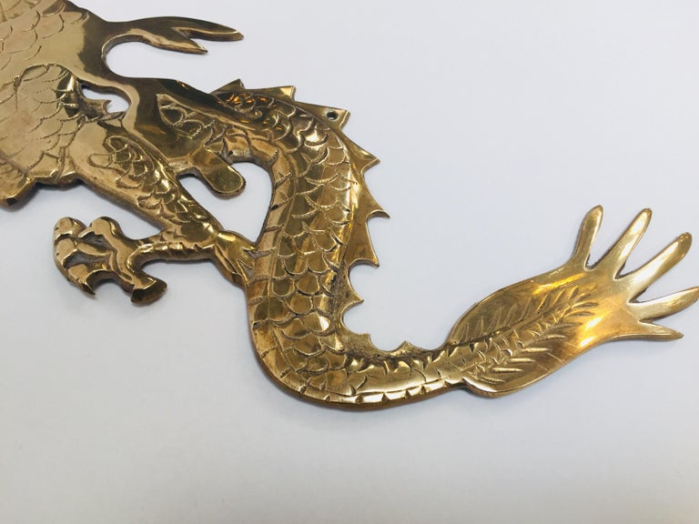 Wall Mount, Asian Cast Brass Dragon Chasing a Ball For Sale 9