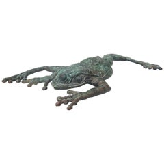 Wall Mount Bronze Frog Sculpture by Kathy Spalding