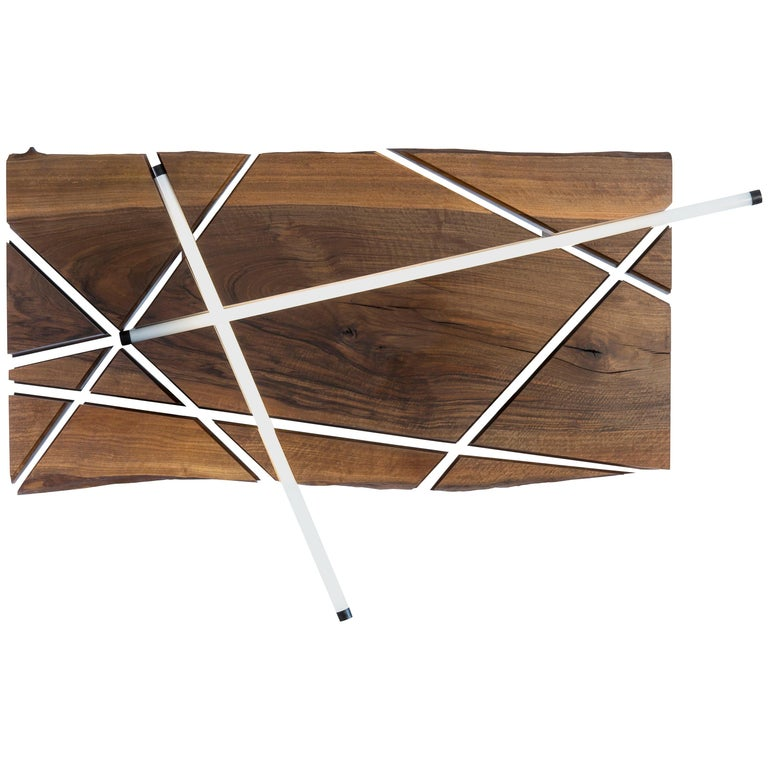 Wall-Mount Light Fixture, LED Tubes Embedded in Walnut Slab For Sale