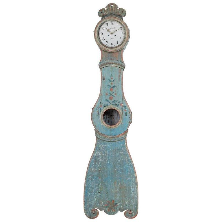 Wall Mounted 18th Century Swedish Mora Clock For Sale