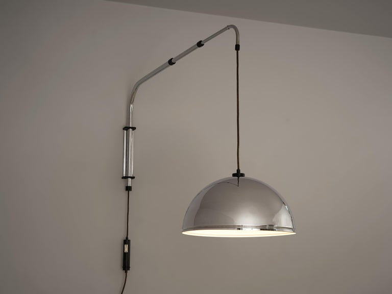 Wall-Mounted Adjustable Pendant Lamp in Metal In Good Condition For Sale In Waalwijk, NL
