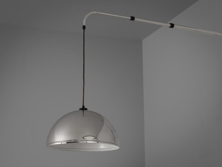 Late 20th Century Wall-Mounted Adjustable Pendant Lamp in Metal For Sale