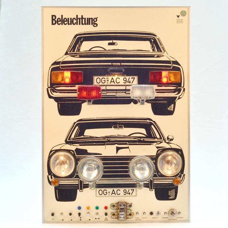German Wall Mounted Artwork with Car Lights Demonstrating Driving Instructions For Sale