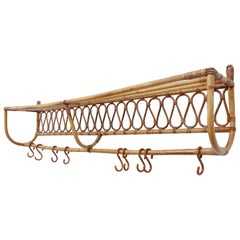 Wall Mounted Bamboo Coat Rack with Hooks