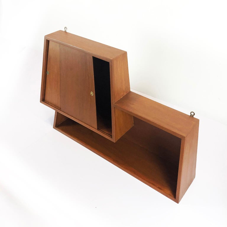 Mexican Wall-Mounted Bar Cabinet Designed by Eugenio Escudero For Sale