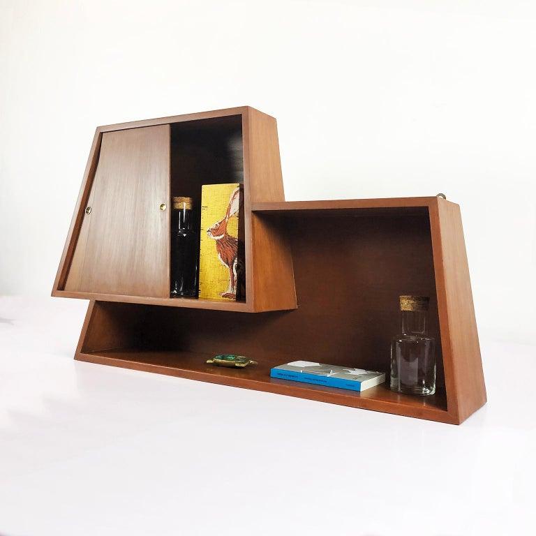 Wall-Mounted Bar Cabinet Designed by Eugenio Escudero In Fair Condition For Sale In Mexico City, CDMX