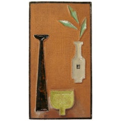Wall-Mounted Clay and Ceramic Still-Life Relief by Graveren, Norway, 1950s