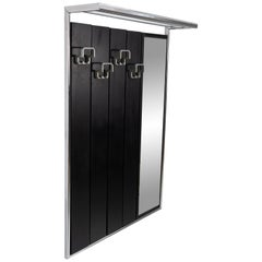 Wall-Mounted Coat Rack with Mirror, Ebonized Wood and Chrome, 1970s
