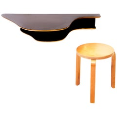 Wall Mounted Desk with Alvar Aalto Stool, 1940s, Sweden
