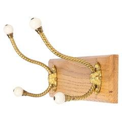 Wall Mounted Gilt Brass & Porcelain Hat & Coat Hooks