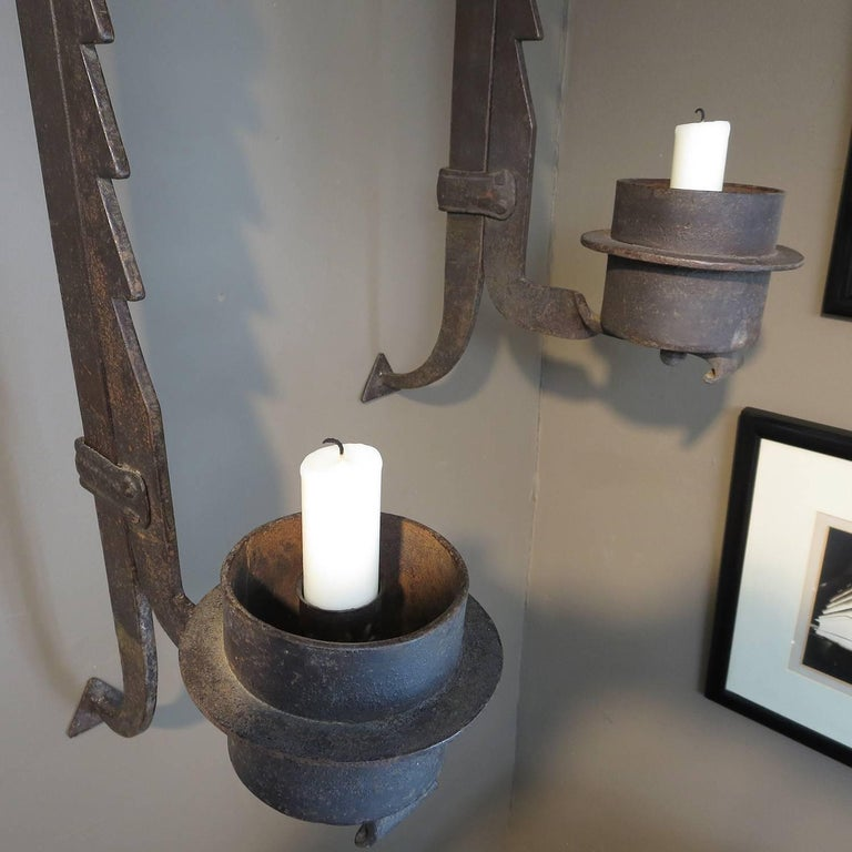 Wall-Mounted Hammered Iron Rustic Candleholders For Sale 2