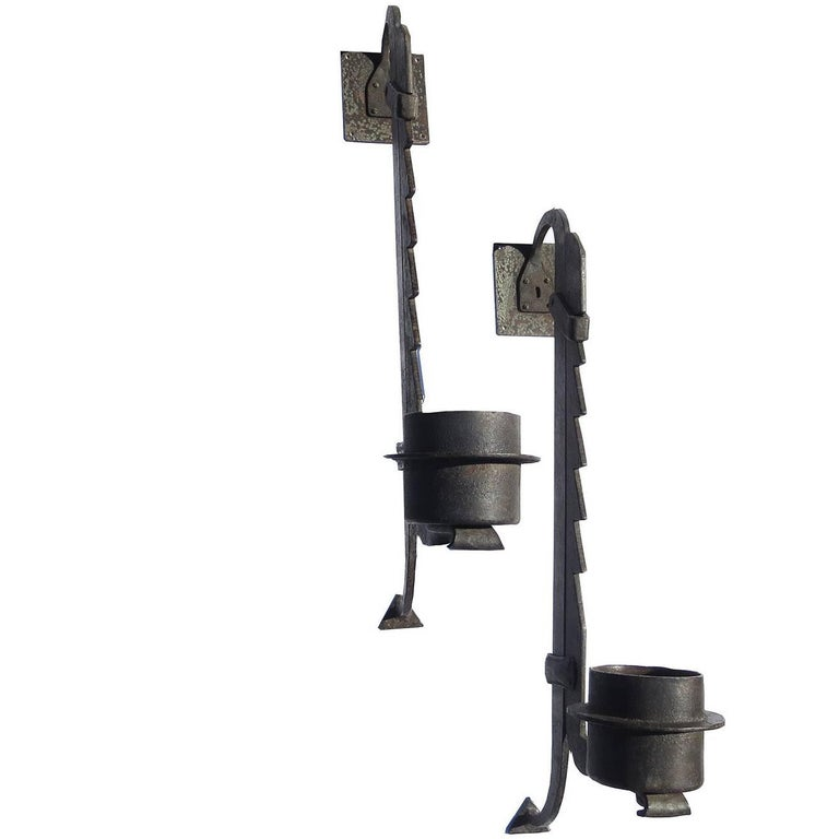 Wall-Mounted Hammered Iron Rustic Candleholders For Sale